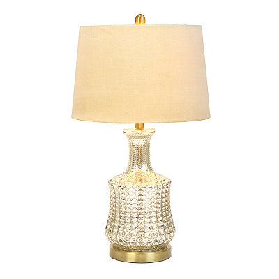 Ribbed Silver Mercury Glass Table Lamp