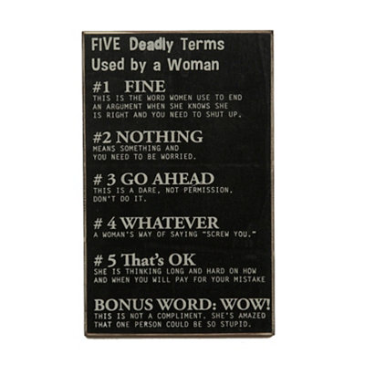 Five Deadly Terms Wooden Sign