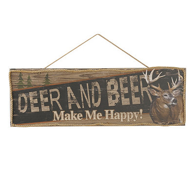 Deer & Beer Wooden Sign
