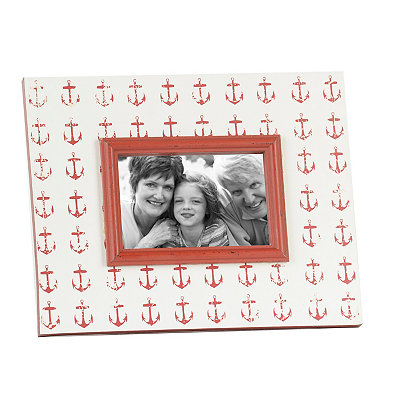 Distressed Red Anchors Picture Frame, 4x6