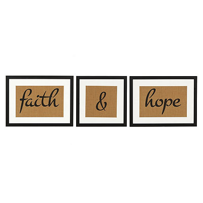 Faith And Hope Framed Art Prints, Set Of 3