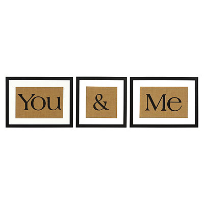 You & Me Burlap Framed Prints, Set of 3