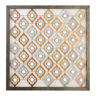 Distressed Quatrefoil Mirrored Metal Plaque