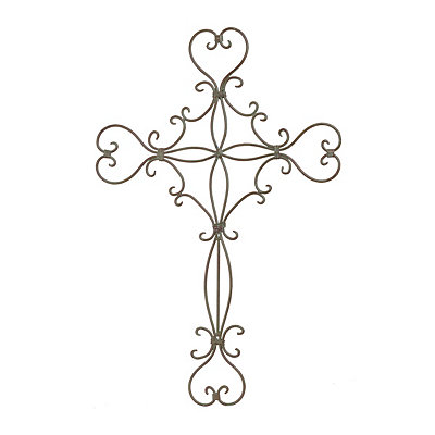Weathered Bronze Scrolls Metal Cross Plaque
