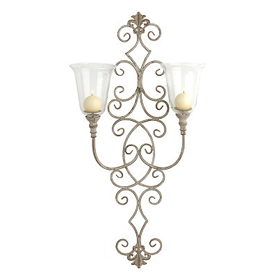 Distressed Ivory Scrolls Double Arm Sconce