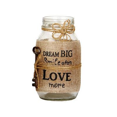 Dream Big Burlap Mason Jar Vase