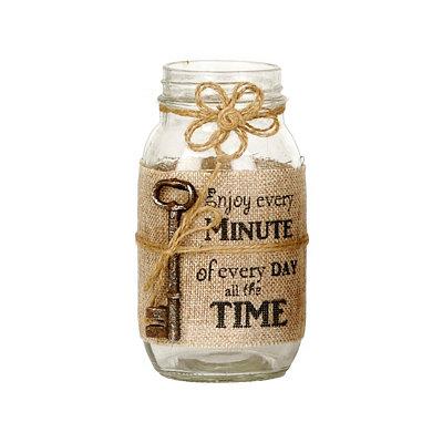 Enjoy Every Minute Burlap Mason Jar Vase