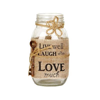 Live, Laugh, Love Burlap Mason Jar Vase