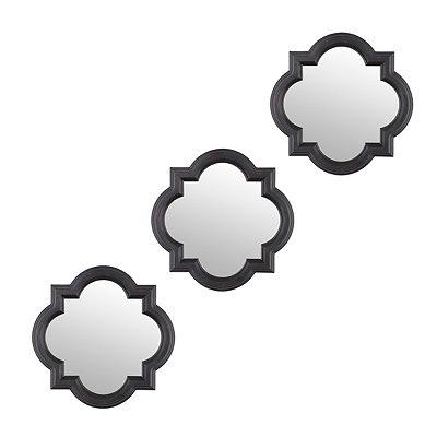 Black Quatrefoil Framed Mirrors, Set of 3