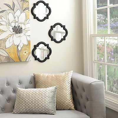 Black Quatrefoil Framed Mirrors, Set of 3