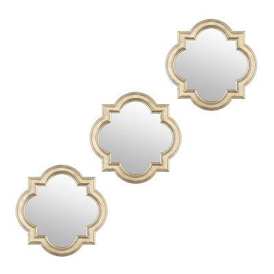 Champagne Quatrefoil Framed Mirrors, Set of 3