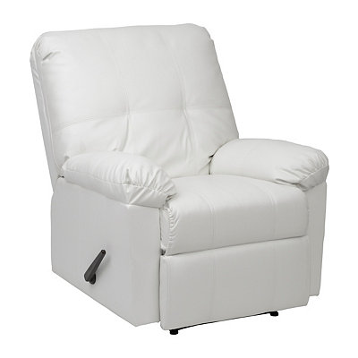 Cream Faux Leather Recliner
