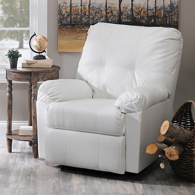 White Faux Leather Recliner