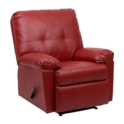 Red Faux Leather Recliner