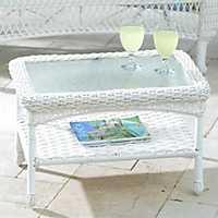 Savannah White Wicker Coffee Table