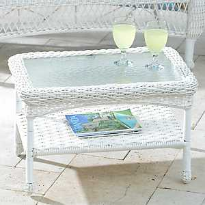 Savannah White Wicker Coffee Table