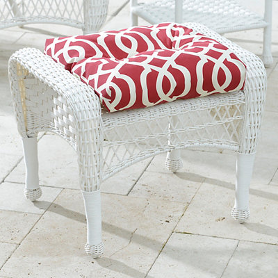 Savannah White Wicker Ottoman