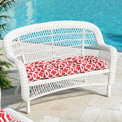 Savannah White Wicker Settee