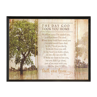 The Day God Took You Home Plaque