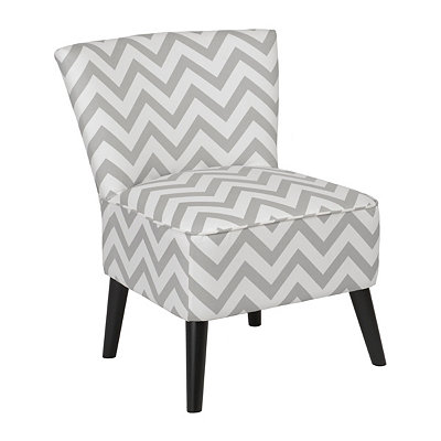 Gray Chevron Apollo Slipper Chair