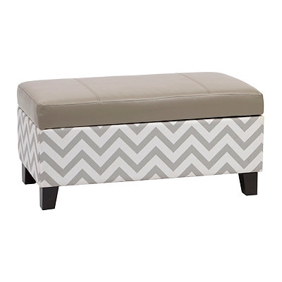 Hudson Gray Chevron Storage Bench