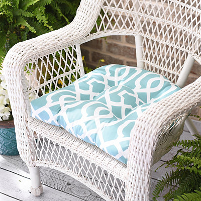 Aqua Geometric Outdoor Cushion