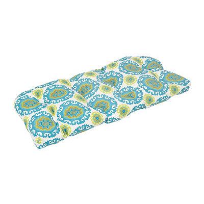 Turquoise Suzani Outdoor Settee Cushion