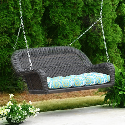 Turquoise Suzani Outdoor Settee Cushion
