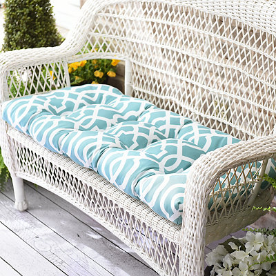Aqua Geometric Outdoor Settee Cushion