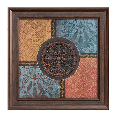 Blue & Spice Damask Medallion Shadowbox