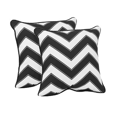 Black and White Outdoor Accent Pillows, Set of 2