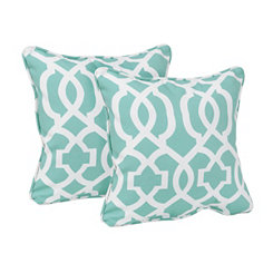 Aqua Geometric Outdoor Accent Pillows, Set of 2