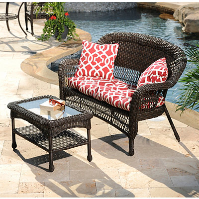 Geometric Red Outdoor Accent Pillows, Set of 2