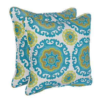 Turquoise Suzani Outdoor Accent Pillows, Set of 2