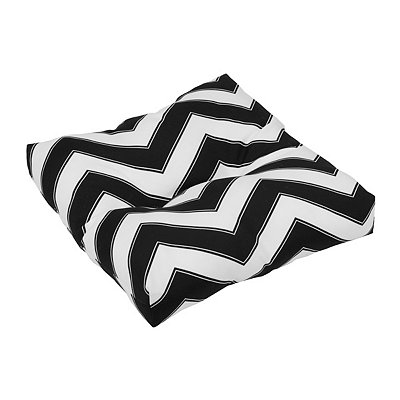 Black and White Chevron Outdoor Ottoman Cushion