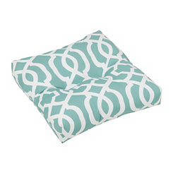 Aqua Geometric Outdoor Ottoman Cushion