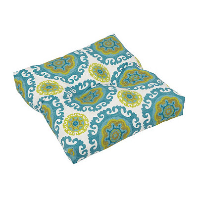 Turquoise Suzani Outdoor Ottoman Cushion