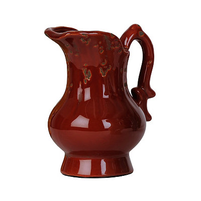 Distressed Red Ceramic Pitcher Vase