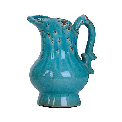Distressed Turquoise Ceramic Pitcher Vase