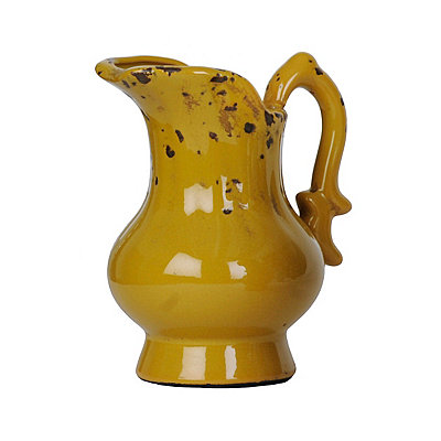 Distressed Yellow Ceramic Pitcher Vase