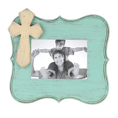 Distressed Turquoise Scalloped Picture Frame, 5x7