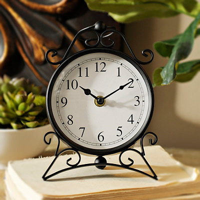 Black Scroll Metal Tabletop Clock