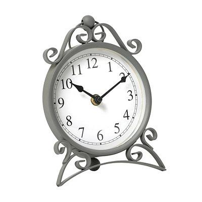 Gray Scroll Metal Tabletop Clock