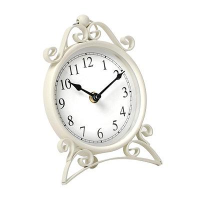 White Scroll Metal Tabletop Clock