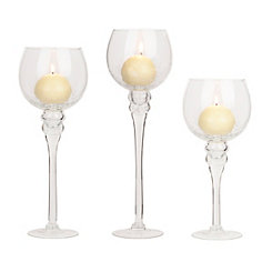 Clear Crackle Glass Charismas, Set of 3