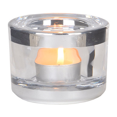Round Crystal Votive Holder with Silver Rim