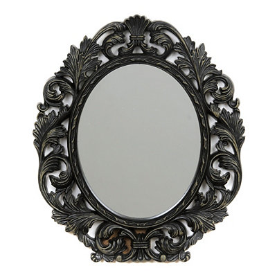 Ornate Black Oval Framed Mirror, 13x15