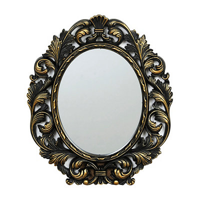 Ornate Black & Gold Oval Framed Mirror, 13x15