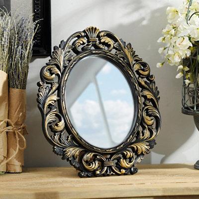 Ornate Black & Gold Oval Framed Mirror, 13x15