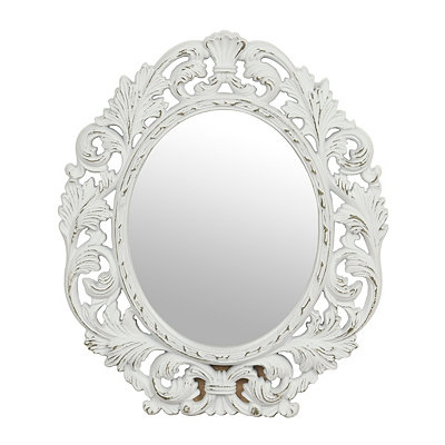 Ornate White Oval Framed Mirror 13x15